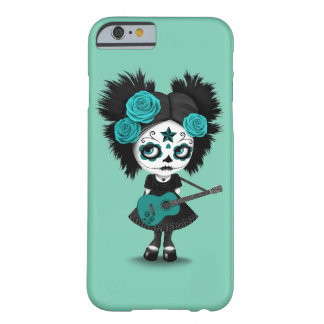 Teal Blue Sugar Skull Girl Playing the Guitar Barely There iPhone 6 Case