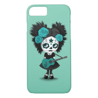 Teal Blue Sugar Skull Girl Playing the Guitar iPhone 8/7 Case