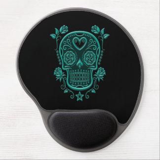 Teal Blue Sugar Skull with Roses on Black Gel Mouse Pad