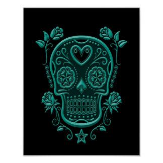 Teal Blue Sugar Skull with Roses on Black Poster