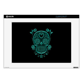 Teal Blue Sugar Skull with Roses on Black Laptop Decals