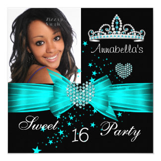 Teal Blue Sweet 16 Birthday Diamond Tiara Photo Card