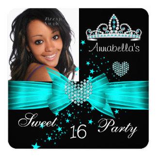 Teal Blue Sweet 16 Birthday Diamond Tiara Photo 5.25x5.25 Square Paper Invitation Card