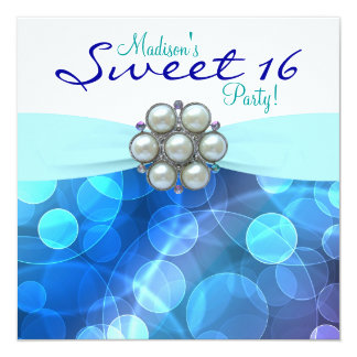 Teal Blue Sweet 16 Birthday Party Card