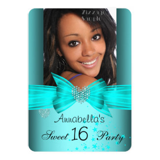 Teal Blue Sweet 16 Birthday Party Diamond Photo 2 4.5x6.25 Paper Invitation Card