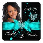 Teal Blue Sweet 16 Birthday Party Diamond Photo Card