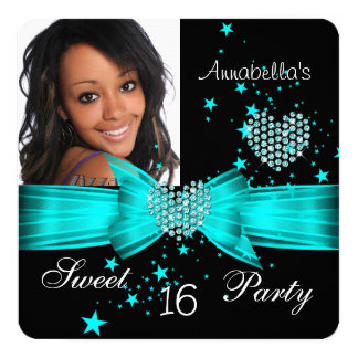 Teal Blue Sweet 16 Birthday Party Diamond Photo 5.25x5.25 Square Paper Invitation Card