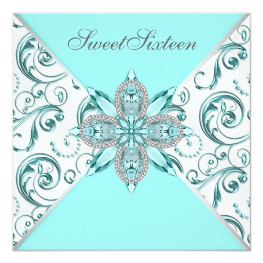 Teal Blue Sweet Sixteen Birthday Party Card