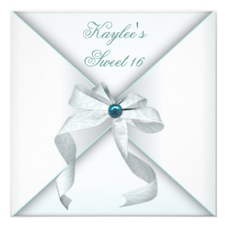 Teal Blue Sweet Sixteen Party Card