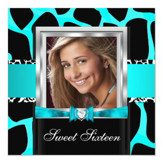 Teal Blue Sweet Sixteen Sweet 16 Party Photo 5.25x5.25 Square Paper Invitation Card