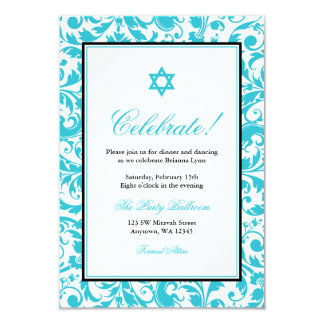 Teal Blue Swirl Damask Bat Mitzvah Reception Card