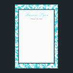 "Teal Blue Swirl Damask Bat Mitzvah Sign In Board<br><div class=""desc"">Elegant teal blue personalized Bat Mitzvah sign-in board canvas. Have your family and friends sign this custom canvas for a memorable guestbook keepsake. Easily personalize for your event. Matching products available.</div>"