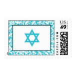 Teal Blue Swirl Damask Star of David Stamps