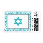 Teal Blue Swirl Damask Star of David Stamps