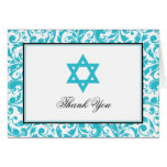 Teal Blue Swirl Damask Star of David Thank You Stationery Note Card