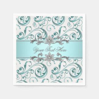 Teal Blue Swirl Paper Napkin
