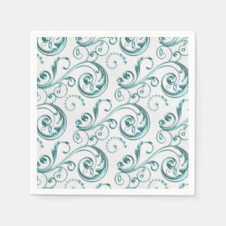 Teal Blue Swirl Disposable Napkins
