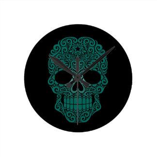 Teal Blue Swirling Sugar Skull on Black Wallclock
