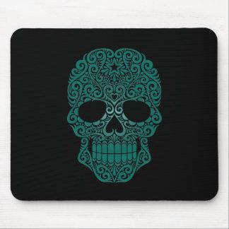Teal Blue Swirling Sugar Skull on Black Mouse Pad