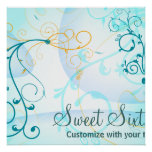 Teal Blue Swirls Sweet Sixteen Birthday Banner Print