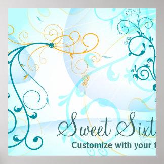 Teal Blue Swirls Sweet Sixteen Birthday Banner Poster