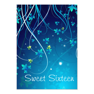 Teal Blue Swirls Sweet Sixteen Party 5x7 Paper Invitation Card