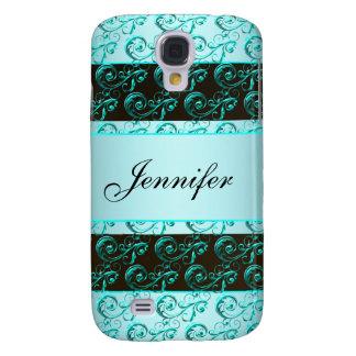 Teal Blue Swirls Teal Monogram  Samsung Galaxy S4 Case