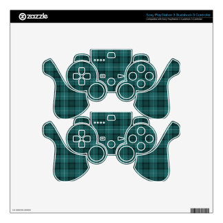 Teal Blue Tartan Plaid Skins For PS3 Controllers