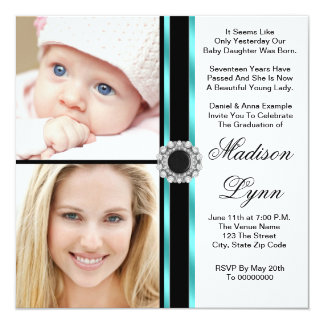Teal Blue Then and Now Photo Graduation Card