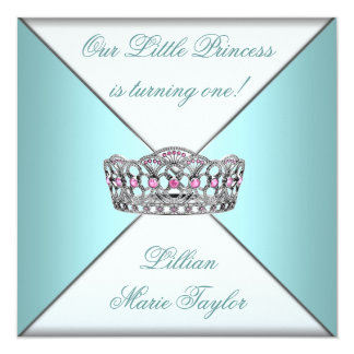 Teal Blue Tiara Princess First Birthday Party 5.25x5.25 Square Paper Invitation Card
