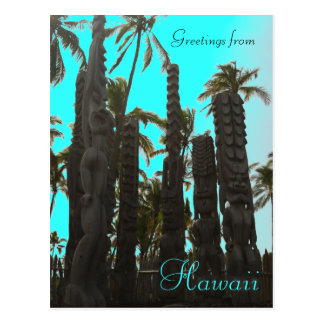 Teal blue tiki theme greeting postcard