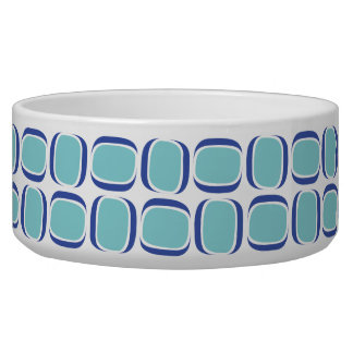 Teal Blue Tilted Box Pattern Bowl
