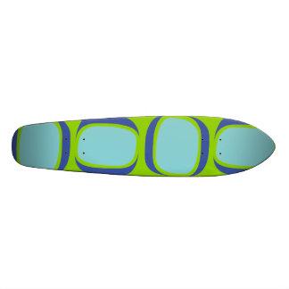Teal Blue Tilted Box Pattern Skateboard Deck