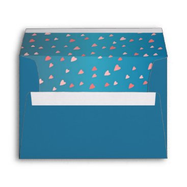 Professional Business Teal Blue Tiny Coral Pink Hearts Inside Envelope