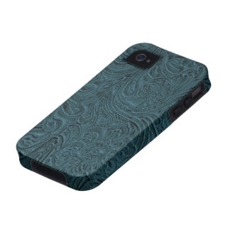 Teal Blue Tooled Leather Look Cowboy Country Case-Mate iPhone 4 Cases