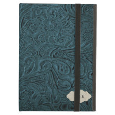 Teal Blue Tooled Leather Look Personalized Ipad Air Covers at Zazzle