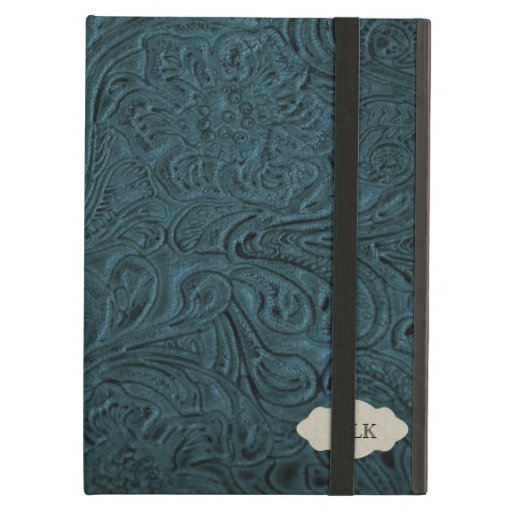 Teal Blue Tooled Leather Look Personalized iPad Cover