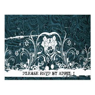 Teal Blue Tooled Leather RSVP Postcard
