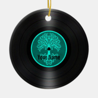 Teal Blue Tree of Life Personalized Vinyl Record Ceramic Ornament