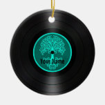 Teal Blue Tree of Life Personalized Vinyl Record Christmas Ornament