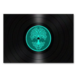 Teal Blue Tree of Life Vinyl Record Graphic Card