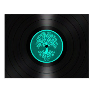 Teal Blue Tree of Life Vinyl Record Graphic Postcard