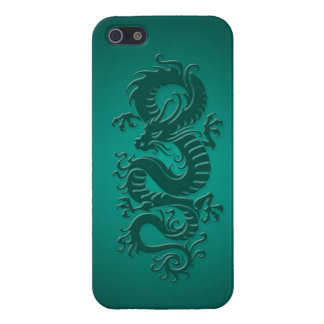 Teal Blue Tribal Chinese Dragon iPhone 5 Cases