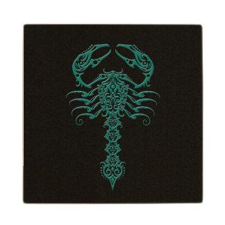 Teal Blue Tribal Scorpion on Black Wooden Coaster