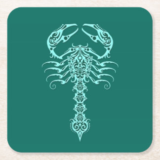 Teal Blue Tribal Scorpion Square Paper Coaster