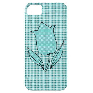 Teal Blue Tulip and Plaid iPhone 5 Case