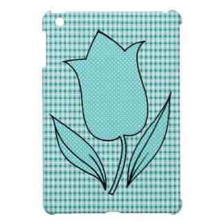 Teal Blue Tulip on Plaid iPad Mini Covers
