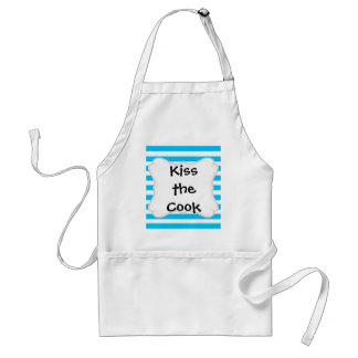 Teal Blue Turquoise and White Stripes Pattern Adult Apron