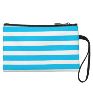 Teal Blue Turquoise and White Stripes Pattern Wristlet Clutch