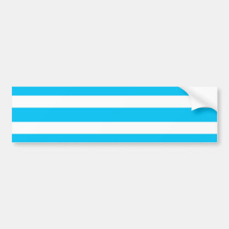 Teal Blue Turquoise and White Stripes Pattern Bumper Sticker